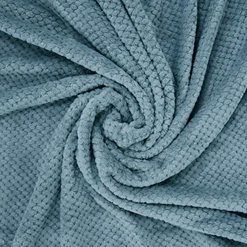 Exclusivo Mezcla Waffle Flannel Fleece Velvet Plush Large Throw Blanket 50 X 70 Slate Blue 0 1