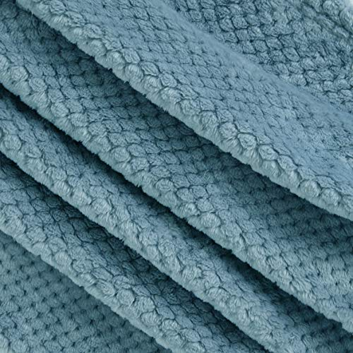 Exclusivo Mezcla Waffle Flannel Fleece Velvet Plush Large Throw Blanket 50 X 70 Slate Blue 0 2