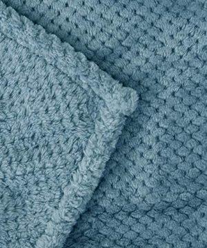 Exclusivo Mezcla Waffle Flannel Fleece Velvet Plush Large Throw Blanket 50 X 70 Slate Blue 0 3 300x360