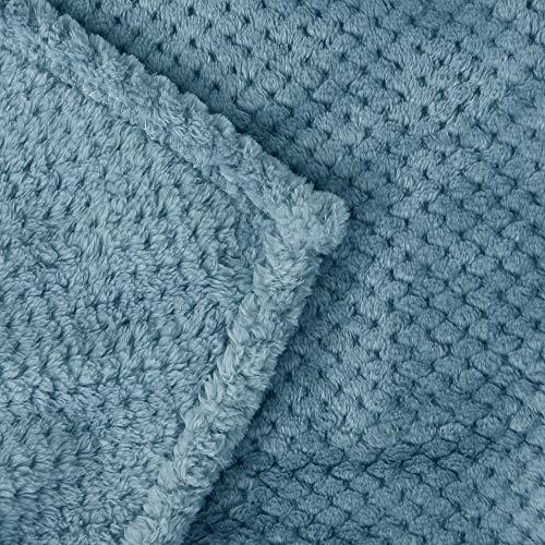 Exclusivo Mezcla Waffle Flannel Fleece Velvet Plush Large Throw Blanket 50 X 70 Slate Blue 0 3
