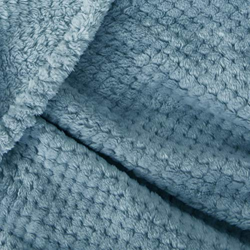 Exclusivo Mezcla Waffle Flannel Fleece Velvet Plush Large Throw Blanket 50 X 70 Slate Blue 0 4