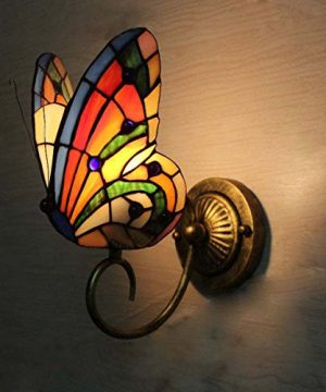 FUMAT Tiffany Wall Sconce Lamp LED Stained Glass Butterfly Color Glass Mirror Front Light Fixture Bedroom Beside Wall Light 0 0 300x360