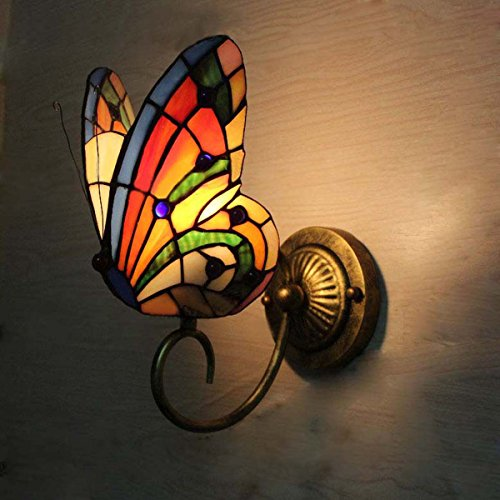 FUMAT Tiffany Wall Sconce Lamp LED Stained Glass Butterfly Color Glass Mirror Front Light Fixture Bedroom Beside Wall Light 0 0