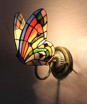 FUMAT Tiffany Wall Sconce Lamp LED Stained Glass Butterfly Color Glass Mirror Front Light Fixture Bedroom Beside Wall Light 0 1 300x360