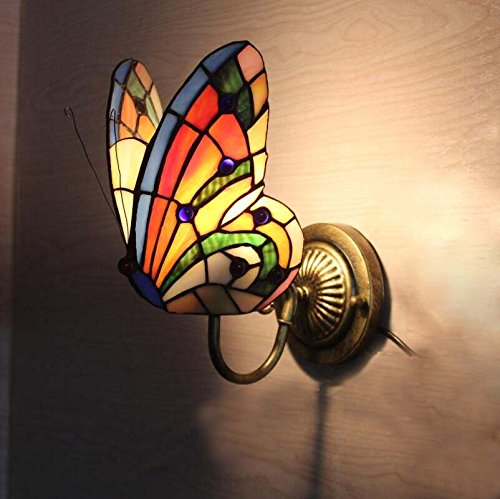FUMAT Tiffany Wall Sconce Lamp LED Stained Glass Butterfly Color Glass Mirror Front Light Fixture Bedroom Beside Wall Light 0 1