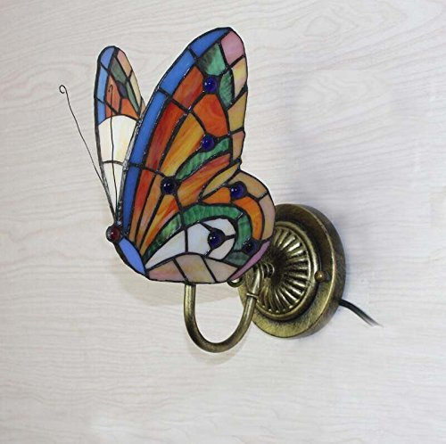 FUMAT Tiffany Wall Sconce Lamp LED Stained Glass Butterfly Color Glass Mirror Front Light Fixture Bedroom Beside Wall Light 0 2