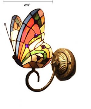 FUMAT Tiffany Wall Sconce Lamp LED Stained Glass Butterfly Color Glass Mirror Front Light Fixture Bedroom Beside Wall Light 0 3 300x360