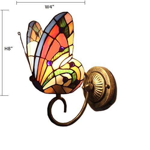FUMAT Tiffany Wall Sconce Lamp LED Stained Glass Butterfly Color Glass Mirror Front Light Fixture Bedroom Beside Wall Light 0 3