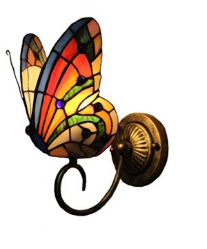 FUMAT Tiffany Wall Sconce Lamp LED Stained Glass Butterfly Color Glass Mirror Front Light Fixture Bedroom Beside Wall Light 0 300x360