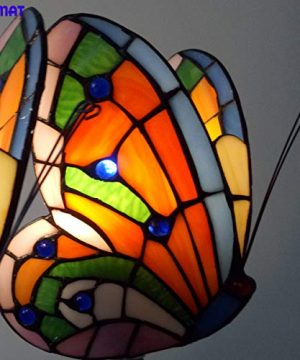 FUMAT Tiffany Wall Sconce Lamp LED Stained Glass Butterfly Color Glass Mirror Front Light Fixture Bedroom Beside Wall Light 0 4 300x360