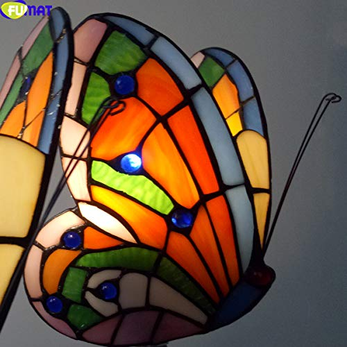 FUMAT Tiffany Wall Sconce Lamp LED Stained Glass Butterfly Color Glass Mirror Front Light Fixture Bedroom Beside Wall Light 0 4