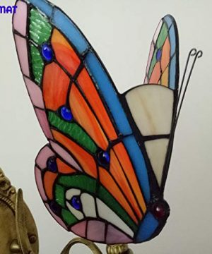 FUMAT Tiffany Wall Sconce Lamp LED Stained Glass Butterfly Color Glass Mirror Front Light Fixture Bedroom Beside Wall Light 0 5 300x360