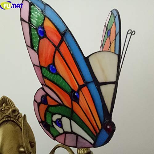 FUMAT Tiffany Wall Sconce Lamp LED Stained Glass Butterfly Color Glass Mirror Front Light Fixture Bedroom Beside Wall Light 0 5