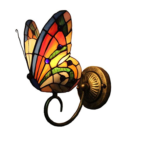 FUMAT Tiffany Wall Sconce Lamp LED Stained Glass Butterfly Color Glass Mirror Front Light Fixture Bedroom Beside Wall Light 0