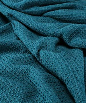 Farmhouse Cotton Thermal Blanket In Waffle Weave 90x90Full Queen TealSnuggle Super Soft BlanketBreathable Cozy Cotton BlanketsFull Queen BlanketNavy BlanketLight Thermal BlanketSoft Blanket 0 2 300x360