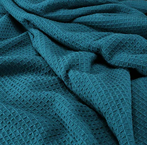 Farmhouse Cotton Thermal Blanket In Waffle Weave 90x90Full Queen TealSnuggle Super Soft BlanketBreathable Cozy Cotton BlanketsFull Queen BlanketNavy BlanketLight Thermal BlanketSoft Blanket 0 2