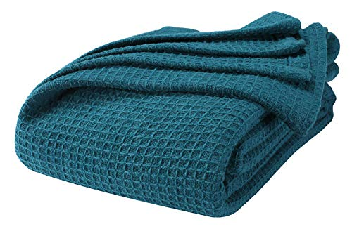 Farmhouse Cotton Thermal Blanket In Waffle Weave 90x90Full Queen TealSnuggle Super Soft BlanketBreathable Cozy Cotton BlanketsFull Queen BlanketNavy BlanketLight Thermal BlanketSoft Blanket 0