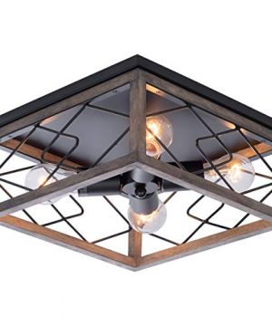Farmhouse Rectangle Flush Mount Ceiling Light Fixture With Wood Shade For Living Room Hallway Entryway Passway Dining Room Bedroom Balcony 4 Light 0 0 300x360