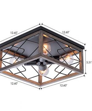 Farmhouse Rectangle Flush Mount Ceiling Light Fixture With Wood Shade For Living Room Hallway Entryway Passway Dining Room Bedroom Balcony 4 Light 0 4 300x360