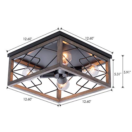 Farmhouse Rectangle Flush Mount Ceiling Light Fixture With Wood Shade For Living Room Hallway Entryway Passway Dining Room Bedroom Balcony 4 Light 0 4