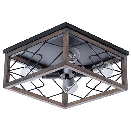Farmhouse Rectangle Flush Mount Ceiling Light Fixture With Wood Shade For Living Room Hallway Entryway Passway Dining Room Bedroom Balcony 4 Light 0