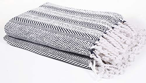 Farmhouse Throws Blanket With Fringe For ChairCouchPicnicCamping BeachThrows For CouchEveryday Use Cotton Throw Blanket With Super Soft And Excellent Handfeel 50 X 60 Navy White 0 2