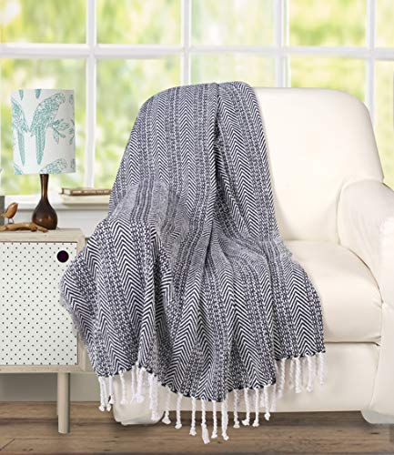 Farmhouse Throws Blanket With Fringe For ChairCouchPicnicCamping BeachThrows For CouchEveryday Use Cotton Throw Blanket With Super Soft And Excellent Handfeel 50 X 60 Navy White 0