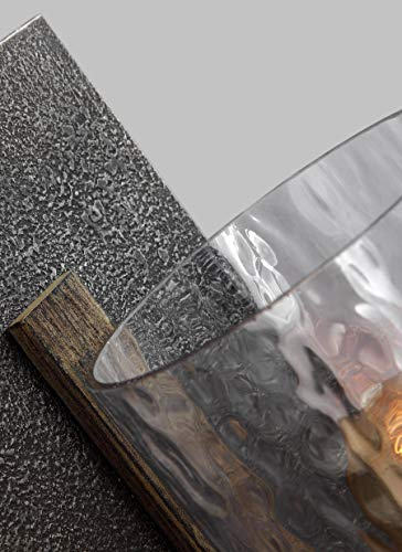 Feiss WB1825DWKSGM Angelo Glass Wall Sconce Lighting Iron 1 Light 6W X 13H 60watts 0 1