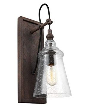 Feiss WB1850DWI Loras Glass Wall Sconce Lighting Iron 1 Light 6W X 17H 75watts 0 300x360