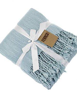 Fennco Styles Woven Classic Chunky Yarn Fringe Throw Blanket 50 X 60 Aqua 0 3 300x360