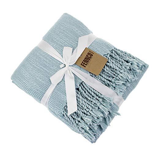 Fennco Styles Woven Classic Chunky Yarn Fringe Throw Blanket 50 X 60 Aqua 0 3