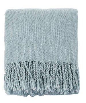 Fennco Styles Woven Classic Chunky Yarn Fringe Throw Blanket 50 X 60 Aqua 0 300x360