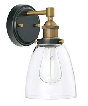 Fiorentino LED Industrial Wall Sconce Antique Brass WClear Glass Linea Di Liara LL WL582 AB 0 0 300x360