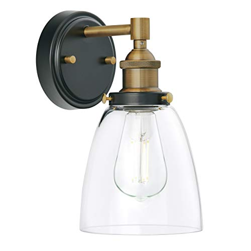 Fiorentino LED Industrial Wall Sconce Antique Brass WClear Glass Linea Di Liara LL WL582 AB 0 0