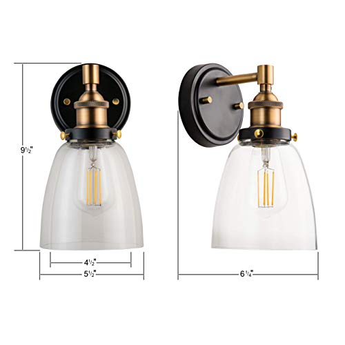 Fiorentino LED Industrial Wall Sconce Antique Brass WClear Glass Linea Di Liara LL WL582 AB 0 1