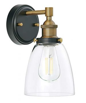 Fiorentino LED Industrial Wall Sconce Antique Brass WClear Glass Linea Di Liara LL WL582 AB 0 300x360
