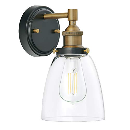 Fiorentino LED Industrial Wall Sconce Antique Brass WClear Glass Linea Di Liara LL WL582 AB 0
