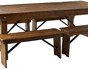 Flash Furniture HERCULES Series 8 X 40 Antique Rustic Folding Farm Table And Four Bench Set 0 300x236