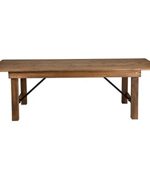 Flash Furniture HERCULES Series 8 X 40 Rectangular Antique Rustic Solid Pine Folding Farm Table 0 0 300x360