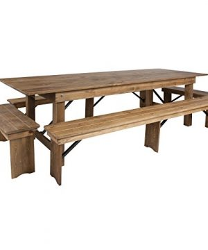 Flash Furniture HERCULES Series 9 X 40 Antique Rustic Folding Farm Table And Four Bench Set 0 300x360