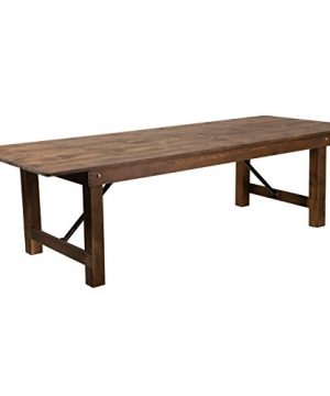 Flash Furniture HERCULES Series 9 X 40 Rectangular Antique Rustic Solid Pine Folding Farm Table 0 300x360