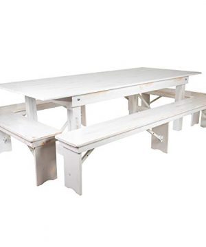 Flash Furniture XA FARM 5 WH GG Farm Table Set Antique Rustic White 0 300x360