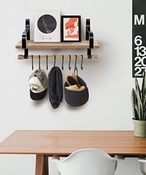 Floating Shelves Wall Mounted By YME Rustic Wood Wall Storage Shelf With Towel Bar And 8 Removable Hooks For Bathroom Kitchen And Organize Cooking Utensils 165 X 67 X 83 Inch 0 2 300x360