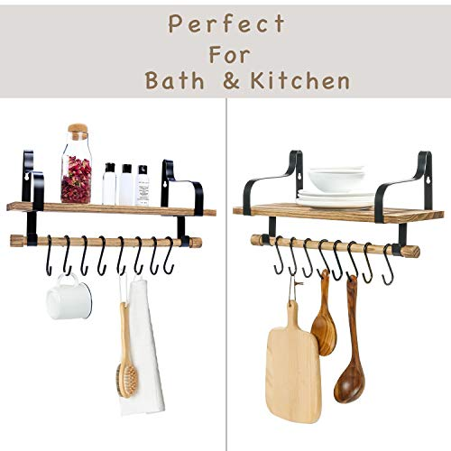 Floating Shelves Wall Mounted By YME Rustic Wood Wall Storage Shelf With Towel Bar And 8 Removable Hooks For Bathroom Kitchen And Organize Cooking Utensils 165 X 67 X 83 Inch 0 4