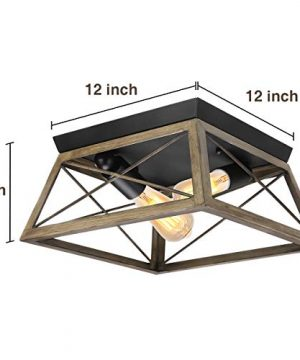Flush Mount Ceiling Light KingSo Farmhouse Light Fixture With UL Listed Kitchen Light Fixtures Ceiling For Dining Room Bedroom Foyer Hallway Oil Rubbed Bronze Finish Wood Texture 0 0 300x360