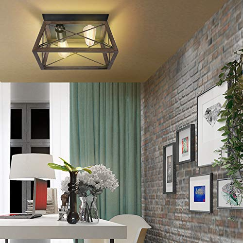 Flush Mount Ceiling Light KingSo Farmhouse Light Fixture With UL Listed Kitchen Light Fixtures Ceiling For Dining Room Bedroom Foyer Hallway Oil Rubbed Bronze Finish Wood Texture 0 4