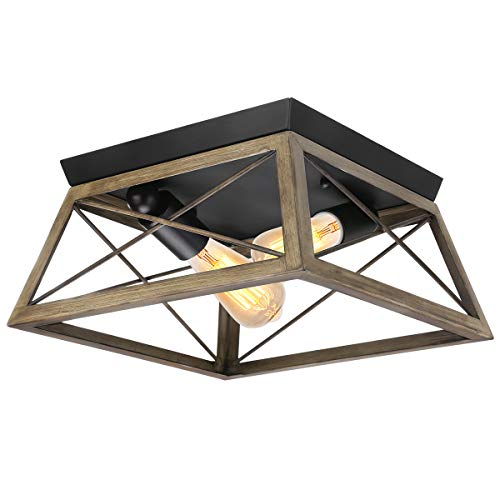 Flush Mount Ceiling Light KingSo Farmhouse Light Fixture With UL Listed Kitchen Light Fixtures Ceiling For Dining Room Bedroom Foyer Hallway Oil Rubbed Bronze Finish Wood Texture 0