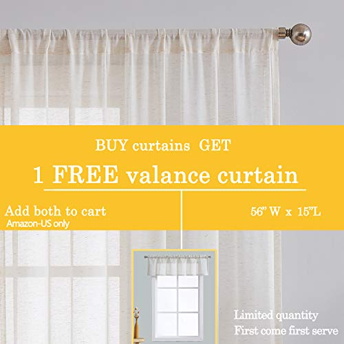 Fmfunctex Flax Linen Sheer Curtains 84 Inch Long Living Room Vintage Window Panel Drapes For Farmhouse Bedroom Rod Pocket Natural 52 Wide 2 Panels 0 0