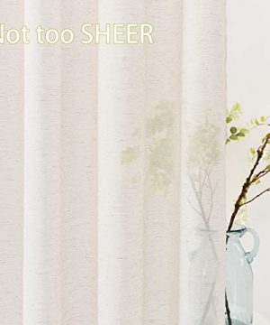 Fmfunctex Flax Linen Sheer Curtains 84 Inch Long Living Room Vintage Window Panel Drapes For Farmhouse Bedroom Rod Pocket Natural 52 Wide 2 Panels 0 1 300x360