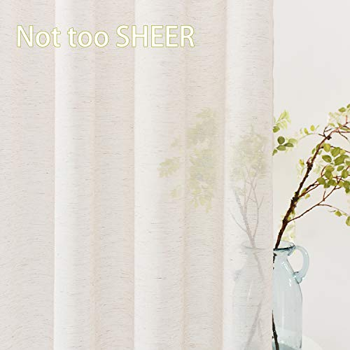 Fmfunctex Flax Linen Sheer Curtains 84 Inch Long Living Room Vintage Window Panel Drapes For Farmhouse Bedroom Rod Pocket Natural 52 Wide 2 Panels 0 1